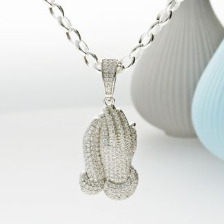 Sterling Silver Praying Hands CZ Pendant with Optional Chain