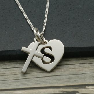 Sterling Silver Initial Heart and Cross Pendants