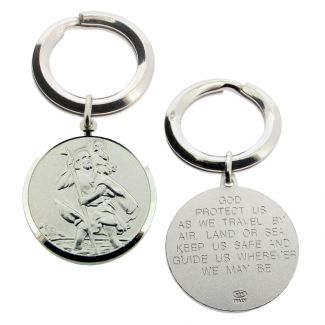 Sterling Silver 24mm St Christopher Keyring With Travellers Prayer