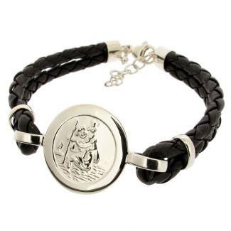 Mens Leather and Sterling Silver St Christopher Bracelet With Travellers Prayer On Black Leather Bracelet (Front)