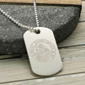 Sterling Silver St Christopher Dog Tag