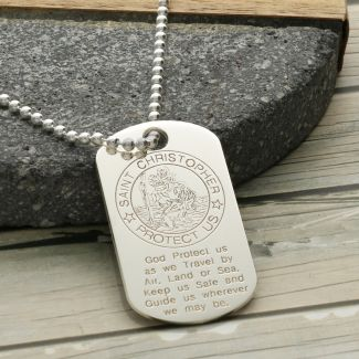 Sterling Silver St Christopher Dog Tag With Travellers Prayer