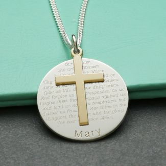 9ct Yellow Gold Cross With Sterling Silver Personalised The Lord's Prayer Disc & Optional Engraving