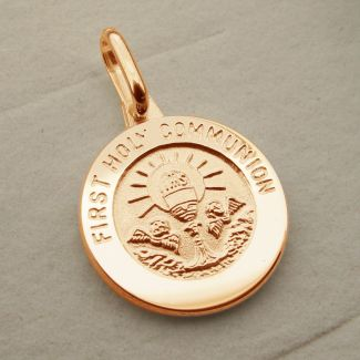 9ct Rose Gold Plated Holy Communion Pendant With Optional Engraving