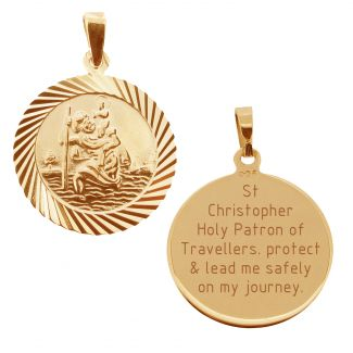9ct Rose Gold Plated 20mm Diamond Cut St Christopher Pendant With Travellers Prayer and Optional Chain