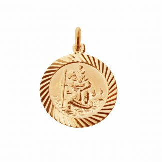 9ct Rose Gold Plated 16mm Diamond Cut St Christopher Pendant With Optional Personalisation and Chain