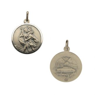 Antique Finish Sterling Silver 14mm Double Sided St Christopher Pendant