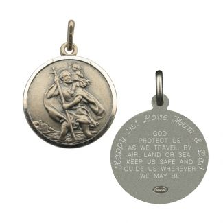 Antique Finish Sterling Silver 22mm St Christopher Pendant With Travellers Prayer Optional Engraving