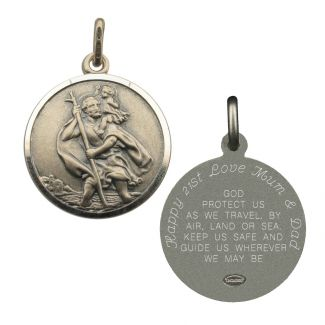 Antique Finish Sterling Silver 24mm St Christopher Pendant With Travellers Prayer Optional Engraving