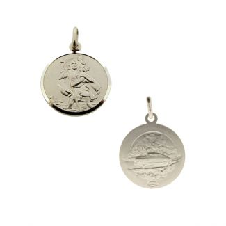 Sterling Silver 14mm Double Sided St Christopher Pendant