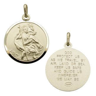 Sterling Silver 22mm St Christopher Pendant With Travellers Prayer