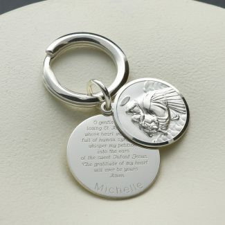 Sterling Silver Personalised Round St Anthony Keyring With St Anthony Prayer