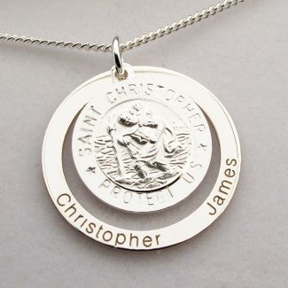 Sterling Silver Personailsed 3D St Christopher Family Pendant