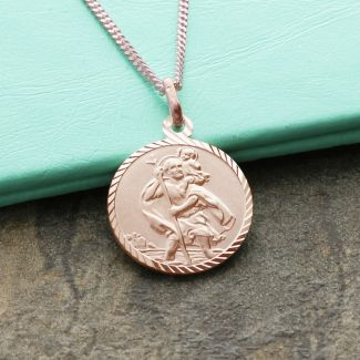 9ct Rose Gold Plated Diamond Cut 16mm St Christopher Pendant With Optional Engraving and Chain