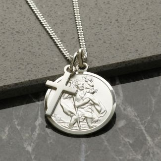 Sterling Silver St Christopher & Cross Pendants With Optional Engraving and Chain