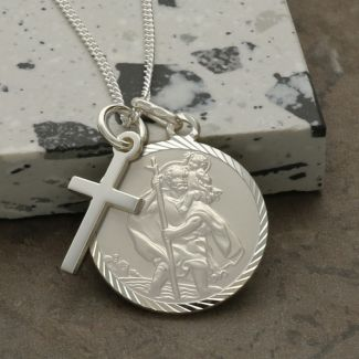 Sterling Silver Diamond Cut 20mm St Christopher & Cross Pendants With Optional Engraving and Chain