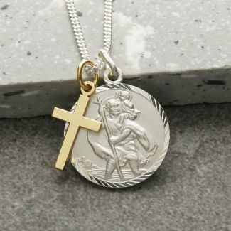 Sterling Silver Diamond Cut 20mm St Christopher & 9ct Yellow Gold Cross Pendant With Optional Engraving and Chain