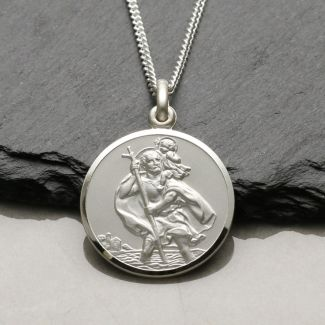 Sterling Silver 22mm St Christopher Pendant