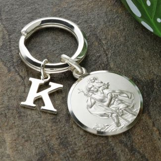 Sterling Silver 24mm St Christopher Keyring With Any Initial & Optional Engraving