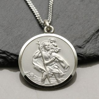 Sterling Silver 27mm St Christopher Pendant With Optional Engraving
