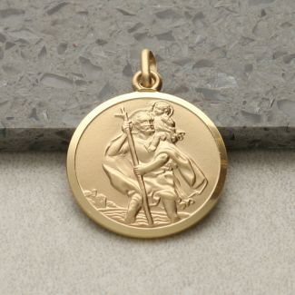 9ct Yellow Gold 20mm St Christopher Pendant