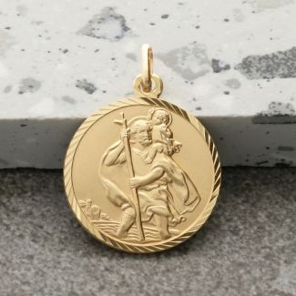 9ct Yellow Gold Diamond Cut 20mm St Christopher Pendant