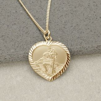 9ct Yellow Gold Diamond Cut Heart St Christopher Pendant