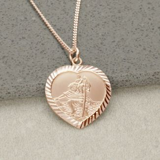 9ct Rose Gold Diamond Cut Heart St Christopher Pendant With Optional Engraving and Chain