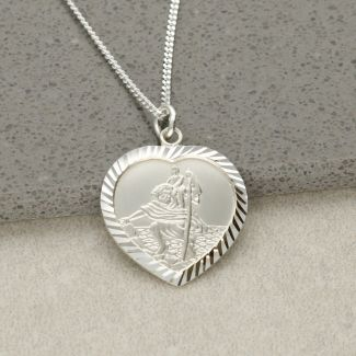 9ct White Gold Diamond Cut Heart St Christopher Pendant With Optional Engraving and Chain