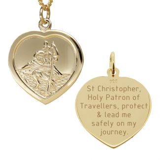 9ct Yellow Gold Heart St Christopher Pendant With Travellers Prayer