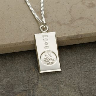 Sterling Silver Custom Hallmarked Small St Christopher Ingot