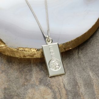 9ct White Gold Custom Hallmarked Small St Christopher Ingot