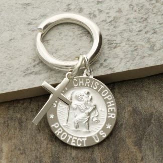 Sterling Silver 24mm 3D St Christopher Keyring With Cross And Optional Engraving