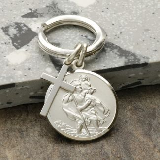 Sterling Silver 24mm St Christopher Keyring With Cross And Optional Engraving