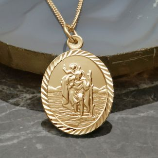 9ct Yellow Gold Plated Diamond Cut Large Oval St Christopher Pendant With Optional Engraving and Chain