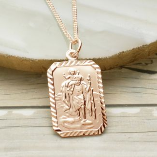 9ct Rose Gold Plated Diamond Cut Rectangle St Christopher Pendant With Optional Engraving On Curb Chain