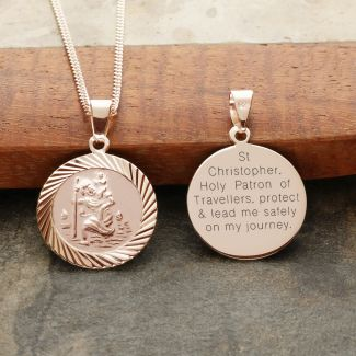 9ct Rose Gold Plated 16mm Diamond Cut St Christopher Pendant With Travellers Prayer and Optional Chain