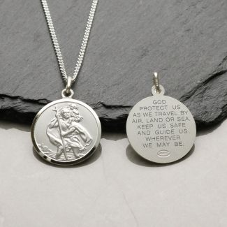 Sterling Silver 20mm St Christopher Pendant With Travellers Prayer