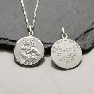 Sterling Silver 22mm St Christopher Pendant With Travellers Prayer & Optional Engraving