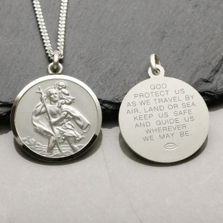 Sterling Silver 27mm St Christopher Pendant With Travellers Prayer and Optional Chain
