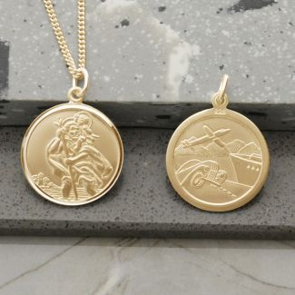 9ct Yellow Gold Plated Round Reversible St Christopher Pendant