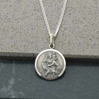 Antique Finish Sterling Silver 14mm St Christopher Pendant