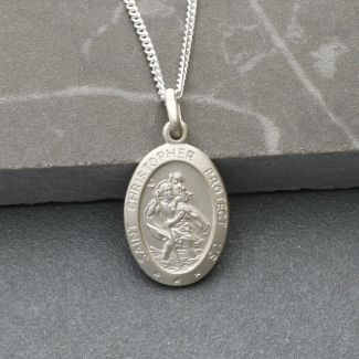 Sterling Silver Small Satin Oval St Christopher Pendant