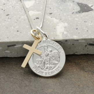 Sterling Silver St Michael Medal With 9ct Yellow Gold Plated Cross, Optional Engraving and Chain