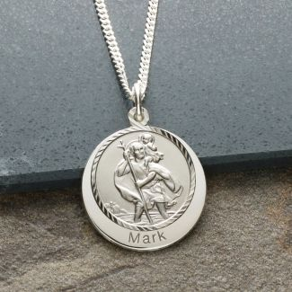 Sterling Silver Personalised Round St Christopher With Travellers Prayer