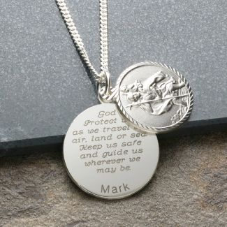 Sterling Silver Personalised Round St Christopher With Travellers Prayer & Optional Engraving