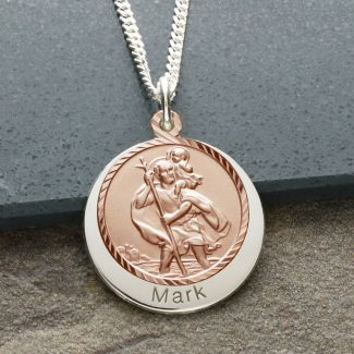 9ct Rose Gold Plated & Silver Personalised St Christopher With Concealed Travellers Prayer
