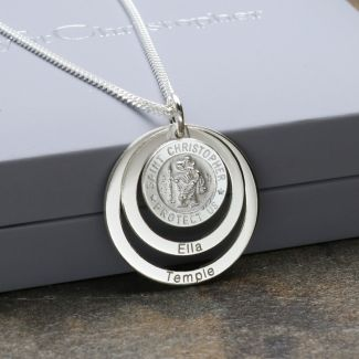 Sterling Silver Personailsed 12mm 3D St Christopher Family Pendant