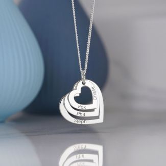 Sterling Silver Triple Heart Personalised Family Necklace