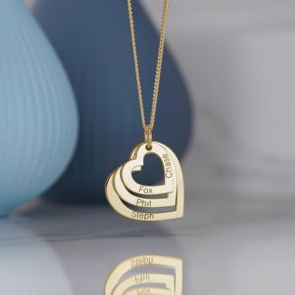 Gold Plated Triple Heart Personalised Family Necklace